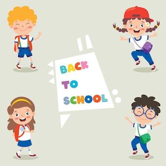 Heureux les enfants de l'école de dessin animé mignon
