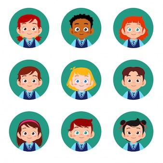 Heureux enfants mignons garçon et fille visage avatar