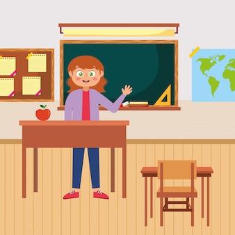 Heureux enseignant agitant caricature de la main. illustration