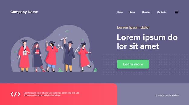 Heureux étudiant diversifié célébrant le modèle web de remise des diplômes