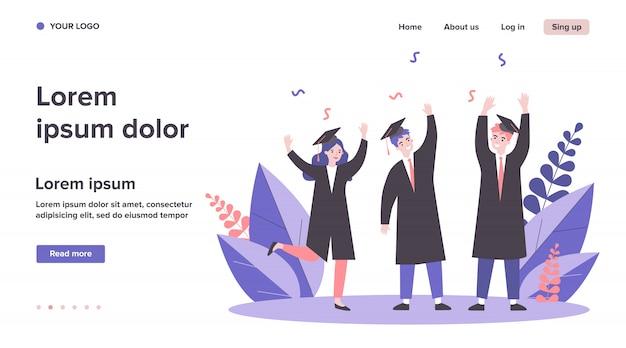Heureux étudiants célébrant leur diplôme universitaire
