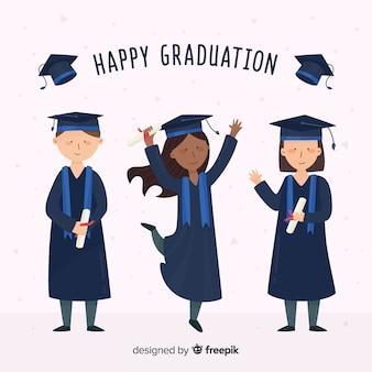 Heureux étudiants célébrant l'obtention du diplôme