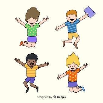 Heureux étudiants dessinés à la main en sautant