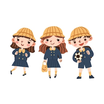 Heureux étudiants japonais portant des uniformes