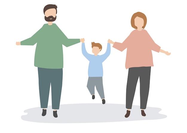 Heureux, famille, tenant mains, illustration