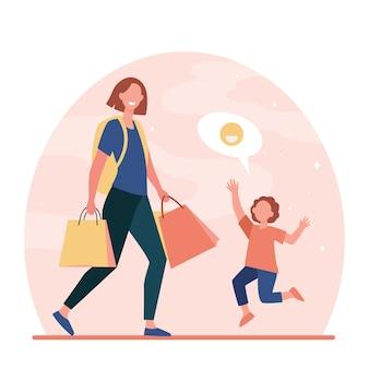 Heureux fils rencontre maman de voyage. femme avec sac à dos, sacs à provisions rentrant à la maison illustration vectorielle plane. famille, parentalité