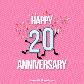 Heureux fond de 20e anniversaire avec des confettis