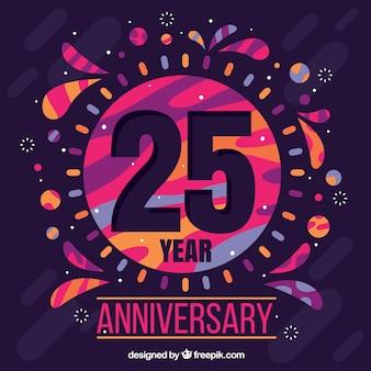 Heureux fond de 25e anniversaire avec des formes colorées