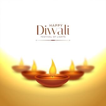 Heureux fond de deepawali avec des lampes de diya