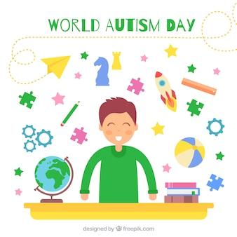 Heureux fond de l'enfant avec des éléments de jour autisme du monde
