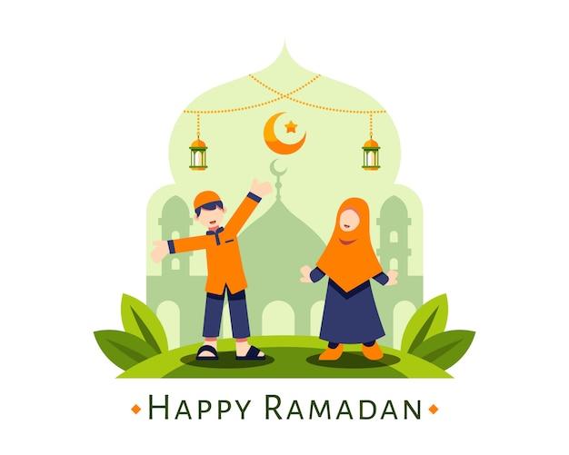 Heureux fond de ramadan avec mignon personnage musulman garçon et fille debout devant la silhouette de la mosquée