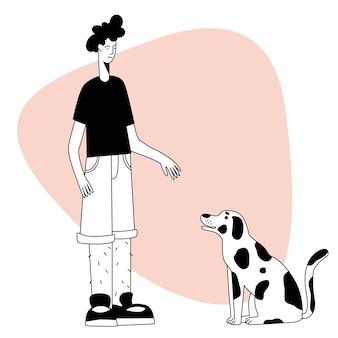 Heureux garçon et chien.