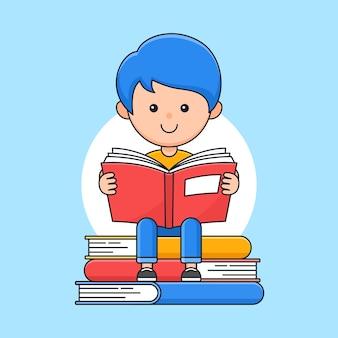 Heureux garçon lire un livre et assis sur l'illustration de style dessin animé contour pile de livres