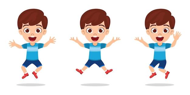 Heureux garçon mignon enfant avec pose différente avec une expression joyeuse isolé sur fond blanc