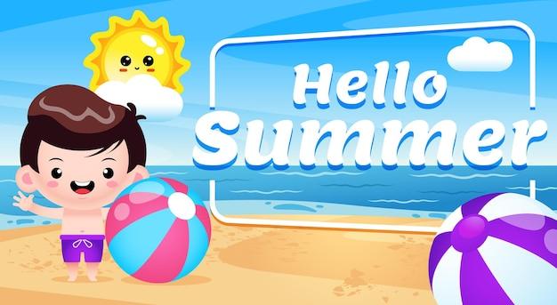 Heureux garçon mignon tenant un ballon de plage à la bande dessinée de plage avec la bannière de lettrage hello summer