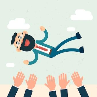 Heureux gens d'affaires équipe throw boss up success