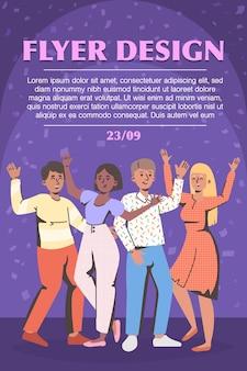 Heureux gens excités dansant et célébrant le modèle de flyer de fête