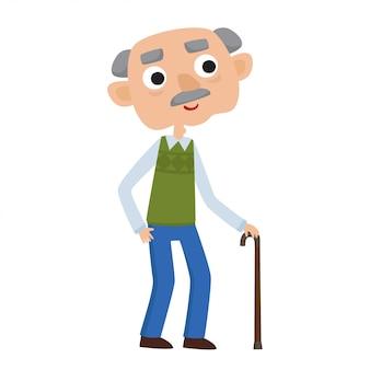 Heureux gentleman senior avec des cheveux argentés debout avec une canne