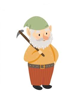 Heureux gnome tenant une pioche