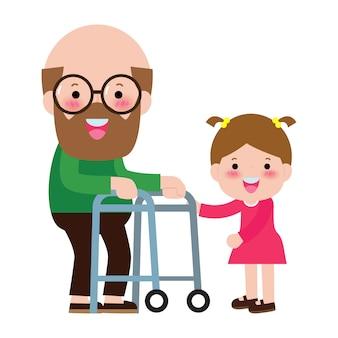 Heureux grand-père de famille et petit-fils, enfants bénévoles aidant le grand-père à marcher, soins aux personnes âgées, soignant aidant l'illustration de personnage de portrait senior.