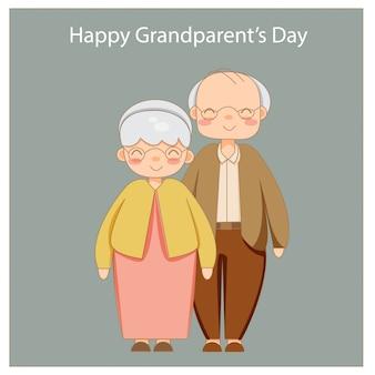 Heureux grands-parents ensemble isolés