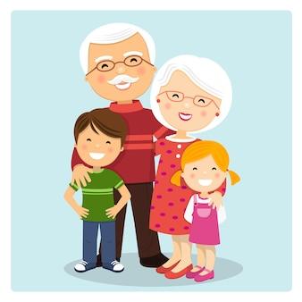 Heureux grands-parents avec petits-enfants sur fond bleu