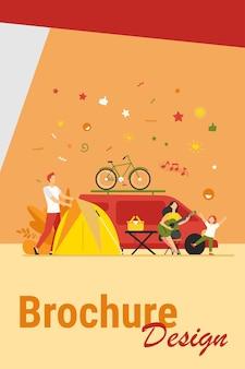 Heureux groupe de touristes camping sur illustration vectorielle plane nature isolée. amis de dessin animé avec des enfants assis près du feu de joie et de la remorque. tourisme, vacances d'été et concept d'activité
