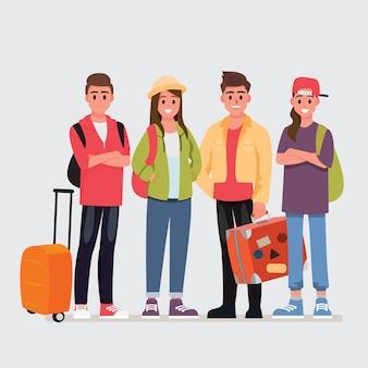 Heureux groupe de voyageurs adolescents