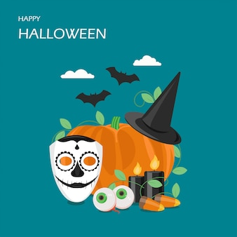 Heureux halloween design illustration de style plat