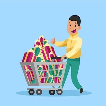 Heureux homme achète des cadeaux de noël