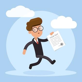 Heureux homme d'affaires en cours d'exécution avec contrat à la main. concept d'entreprise prospère.