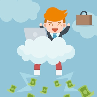 Heureux homme d'affaires prospère est assis sur un nuage avec ordinateur portable, aimant collectant beaucoup d'argent