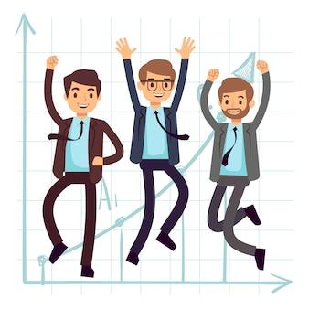 Heureux homme d'affaires de saut d'obstacles. succès à plat dans la conception de concept d'affaires
