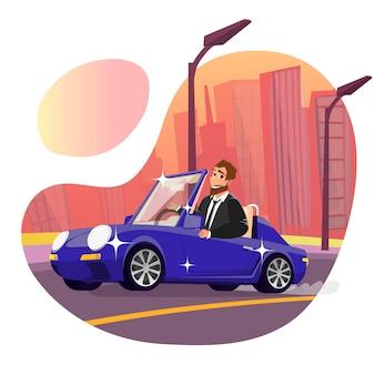 Heureux homme d'affaires souriant au volant de la nouvelle voiture brillante