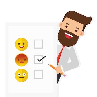 Heureux homme d'affaires souriant succès plan achevé