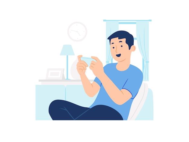 Heureux Homme Assis Sur Un Canapé Jouant Au Jeu Sur L'illustration De Concept De Smartphone Vecteur Premium