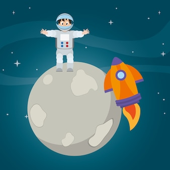 Heureux homme astronaute et fusée dans la lune