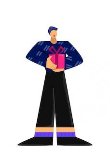 Heureux homme de dessin animé tenant une boîte-cadeau avec ruban à l'achat d'une illustration plate