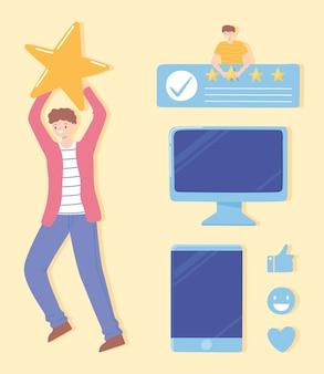 Heureux, homme, à, énorme, coeur, ordinateur, mobile, expression, évaluation, rétroaction, illustration