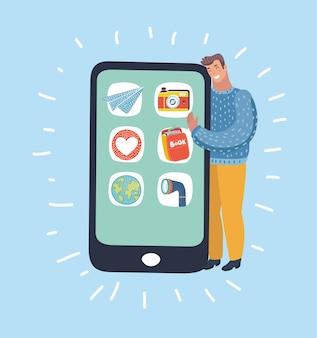 Heureux homme étreignant un smartphone géant