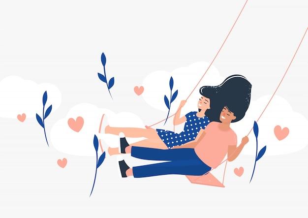 Heureux homme et femme amoureux sur une balançoire entourée de fleurs, de coeurs et de nuages