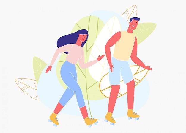 Heureux homme et femme patin à roulettes dans le parc. vecteur.