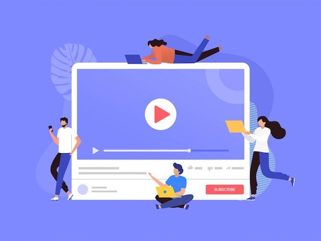 Heureux homme et femme regardant la diffusion en direct avec téléphone et ordinateur portable illustration, plateforme de streaming en ligne