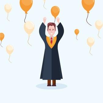 Heureux homme de graduation avec des ballons décoratifs autour