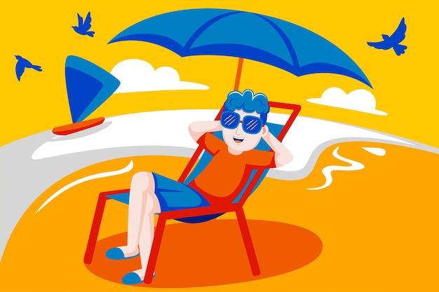 Heureux homme profiter de s'asseoir sur une chaise à la plage.
