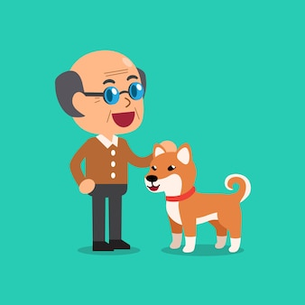 Heureux homme senior avec un chien mignon shiba inu