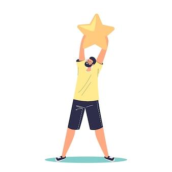 Heureux homme tenant une étoile de notation de rang doré. service de classement des clients satisfaits. concept de système d'examen des commentaires des utilisateurs, des consommateurs ou des clients. illustration vectorielle plane de dessin animé