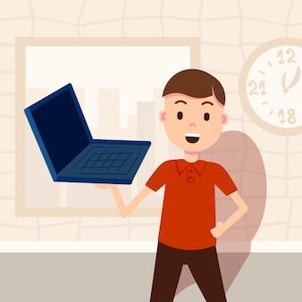 Heureux homme tenant un modèle de personnage masculin pour ordinateur portable pour le travail de conception et le portrait d'animation plat