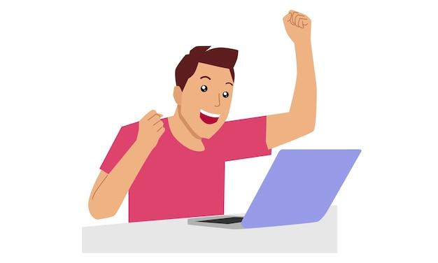 Heureux homme travaille avec un ordinateur portable