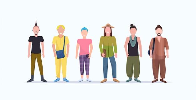 Heureux hommes décontractés debout ensemble gars souriants avec différentes coiffures portant des vêtements à la mode des personnages de dessins animés masculins pleine longueur fond blanc horizontal